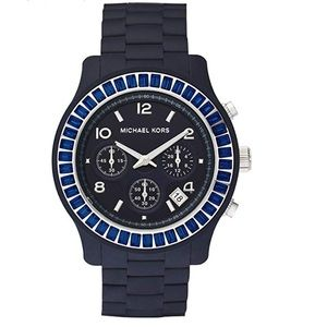 Michael Kors Navy Silicone Band Chronograph Watch